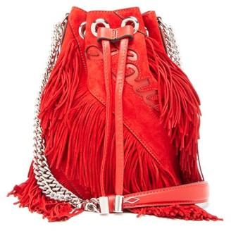 Christian Louboutin Marie Jane Laser Cut Logo Fringed Suede Bucket Bag - Womens - Red