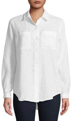 Lord & Taylor Plus Tiffany Linen Button-Down Shirt