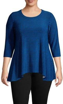 Anne Klein Plus Dot-Print Trapeze Top