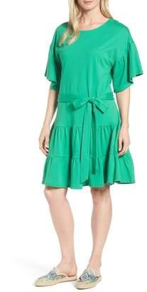 Bobeau Drop Waist Ruffle Cotton Dress (Regular & Petite)