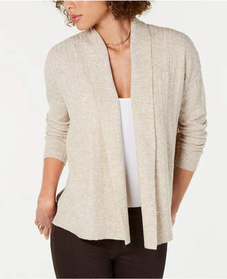 Style&Co. Style & Co Petite Mixed-Rib Open-Front Cardigan