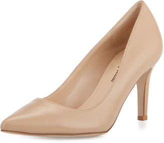 Neiman Marcus Cissy Leather Pointed-Toe Pump, Nude