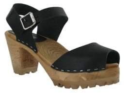 Mia Greta Leather Ankle Strap Clogs