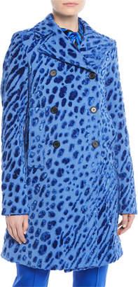 Valentino Velvet Tiger-Print Double-Breasted Coat