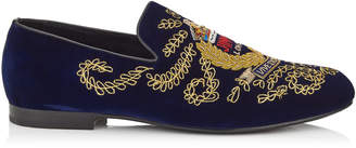 Jimmy Choo SLOANE Official Navy Velvet Slippers with Gold Badge Embroidery