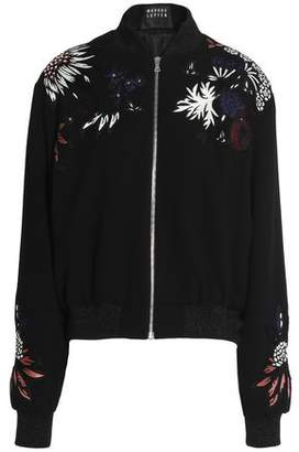 Markus Lupfer Embellished Embroidered Wool-Blend Crepe Bomber Jacket