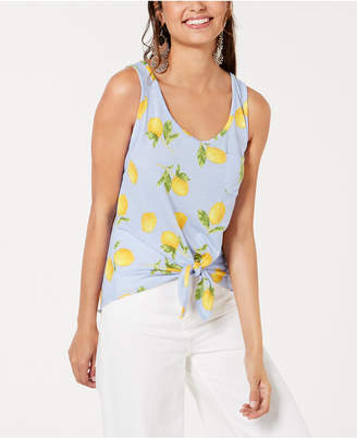 40e44be80a1f3 Rebellious One Juniors  Lemon Printed Tie-Front Tank Top