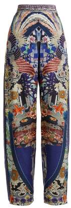 Camilla Darling's Destiny Print Silk Wide Leg Trousers - Womens - Navy Multi