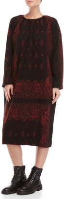 Hache Printed Gathered Neck Long Sleeve Fleece Dress