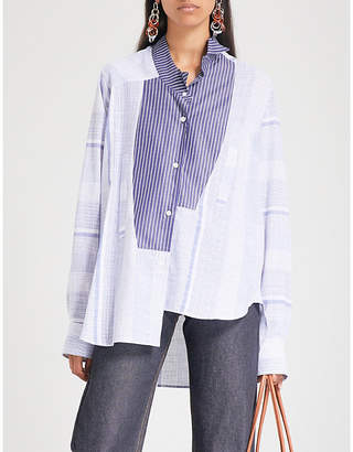 Loewe Asymmetric striped cotton shirt