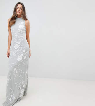 Frock And Frill Tall Premium All Over Embellished High Neck Trophy Maxi Dress
