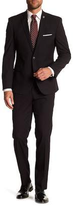 Nick Graham Black Pin Dot Two Button Notch Lapel Stretch Modern Fit Suit