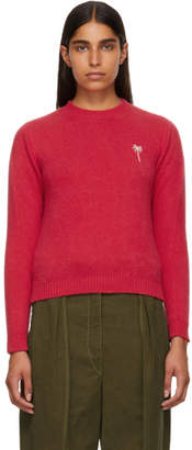 The Elder Statesman Pink Cashmere Simple Cropped Sweater