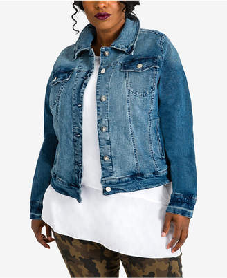 Poetic Justice Trendy Plus Size Yara Denim Trucker Jacket