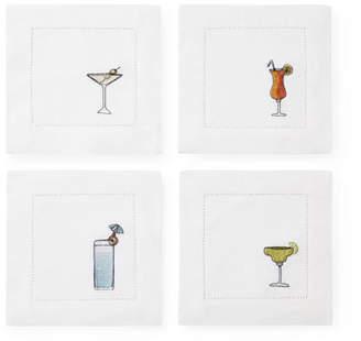 Sferra Embroidered Beverage Cocktail Napkins, Set of 4