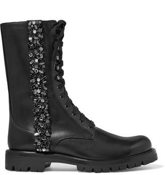 Rene Caovilla Lace-up Crystal-embellished Leather Boots - Black
