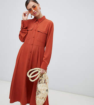 Monki button up midi dress with pockets in rust