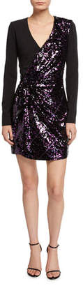 Parker Becca Surplice Long-Sleeve Sequin Combo Mini Dress