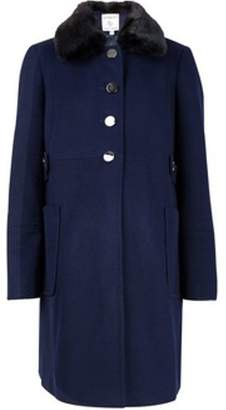 Dorothy Perkins Womens **Maternity Navy Fur Dolly Coat