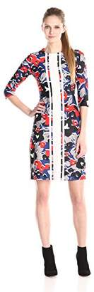 Taylor Dresses Women's 3/4 Sleeve Printed Shift Dress