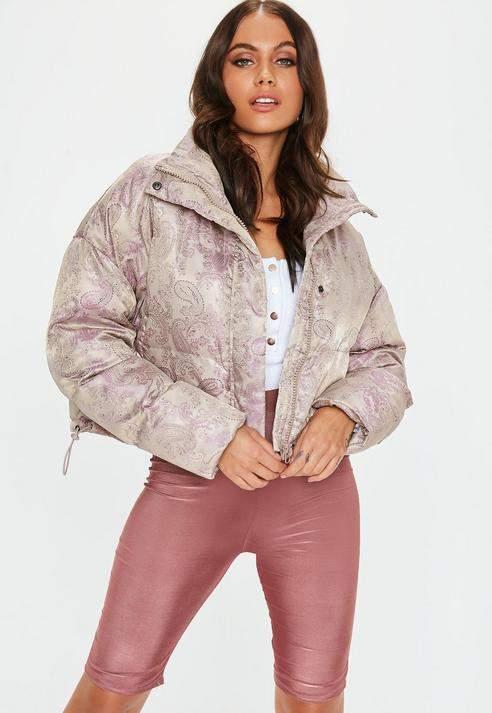 Pink Cropped Floral Jacquard Puffer Jacket, Pink