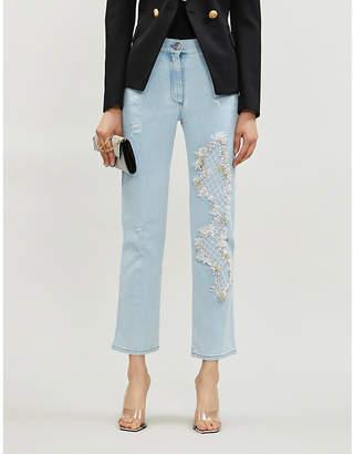 Balmain Bead-embellished straight high-rise jeans