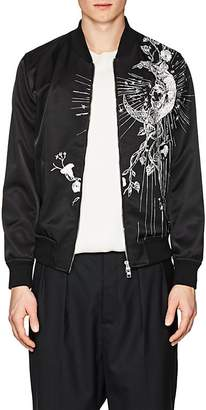 Alexander McQueen Men's Moon-Embroidered Silky Twill Bomber Jacket