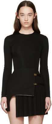 Balmain Black Viscose Bodysuit $1,165 thestylecure.com