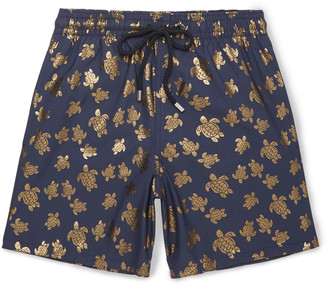 Moorea Mid-Length Metallic-Print Swim Shorts $290 thestylecure.com