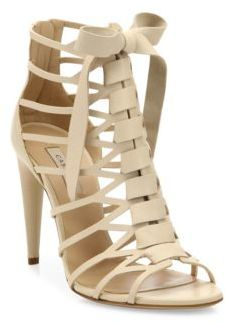 Casadei Leather Cage Sandals $920 thestylecure.com