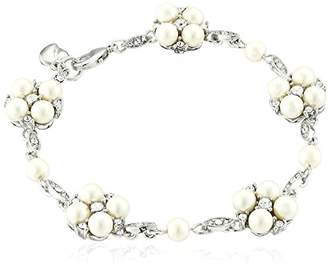 Carolee Pearl and Crystal Basics The Daisy Floral Motif Bracelet