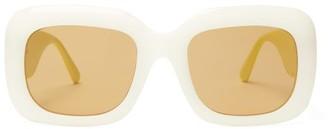 Linda Farrow Oversized Square Acetate Sunglasses - Womens - White