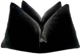 One Kings Lane Vintage Belgian Black Velvet Pillows - Set of 2