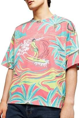 Topman Hawaiian Print Boxy Fit T-Shirt