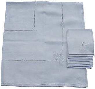 One Kings Lane Vintage Embroidered Tablecloth with Napkins - 7 Pcs