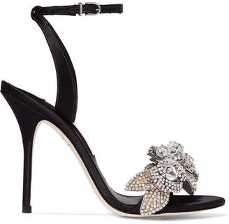 Sophia Webster Lilico Crystal-embellished Satin Sandals - Black