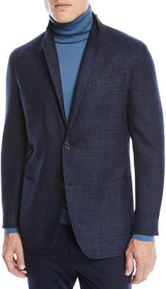 0c8911ecc Ermenegildo Zegna Men's Wool-Silk Check Two-Button Blazer Jacket