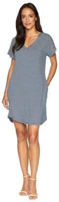 Allen Allen Stripe Short Sleeve Vee Dress with Pockets Women's Dress