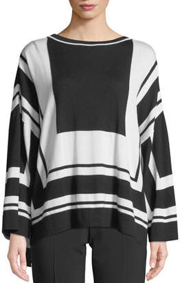 Piazza Sempione Graphic-Stripe Wool/Silk Sweater