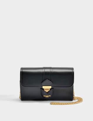 Moschino Hidden Lock Wallet on Chain in Black Calfskin