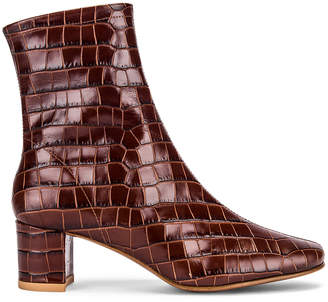 BY FAR Sofia Croco Embossed Leather Boot in Nutella | FWRD