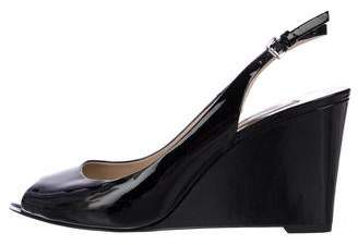 Michael Kors Patent Leather Peep-Toe Wedges