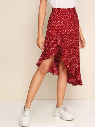 Shein Ruffle Asymmetrical Hem Confetti Heart Print Skirt