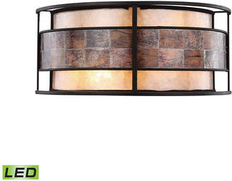 Tiffany & Co. Elk Lighting Tremont 2 Light Wall Sconce in Bronze with Tan and Brown Mica