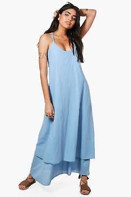 Damen Kayla Maxikleid mit Kordel-Detail in Blau größe S