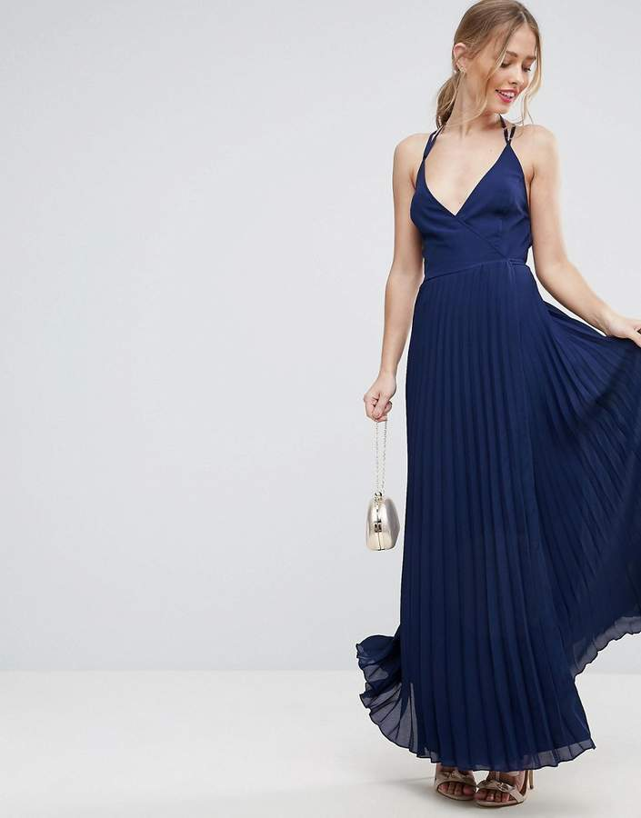Asos ASOS Wrap Front Pleated Maxi Dress