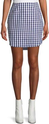 Gingham High-Low Mini Skirt