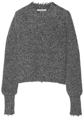 Helmut Lang Distressed Marled Cotton-blend Sweater - Charcoal