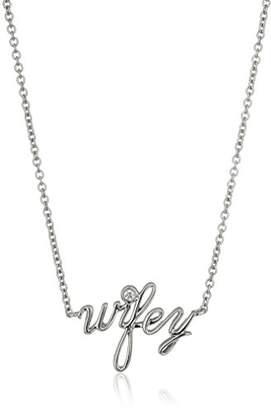 "Swarovski Platinum-Plated Sterling Zirconia""wifey"" Pendant Necklace"