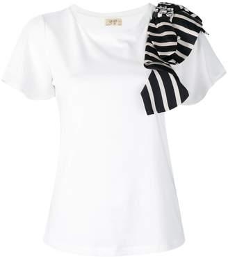 Liu Jo striped shoulder detail T-shirt